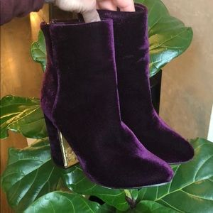 Royal purple velvet booties w/ gold detail